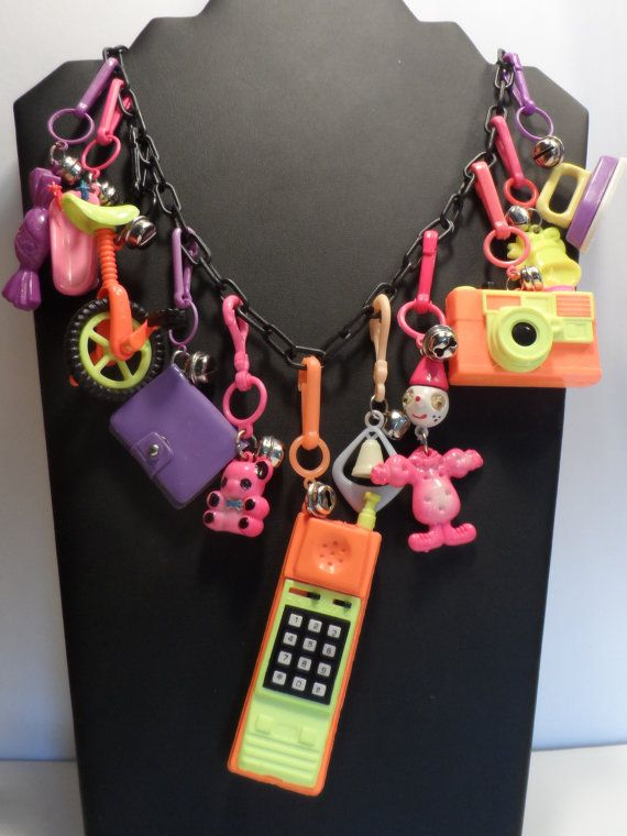 1980s Neon Moveable Charms and Bells Clip Black Plastic Chain Necklace
