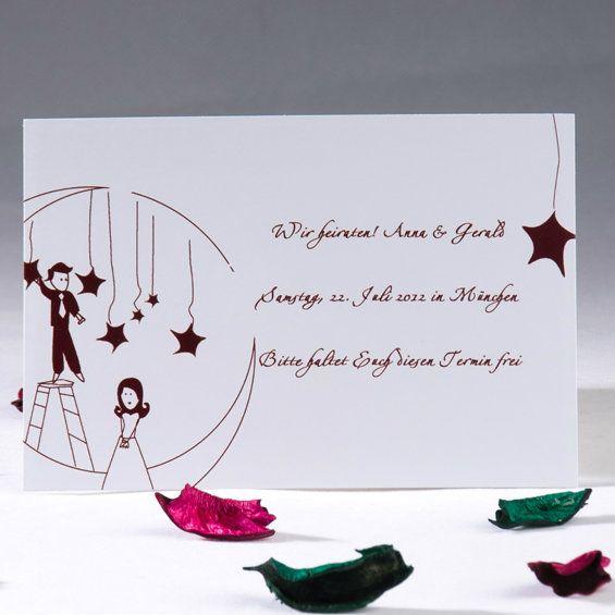 Mond Comic Figuren Hochzeit Einladungen