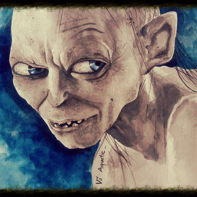 #watercolor #oilpainting #paint #painting #artist #art #arte #artwork #artistic #masterpiece #artoftheday #gallery #painter #portrait #vuaquatic  #beautiful #monster #gollum