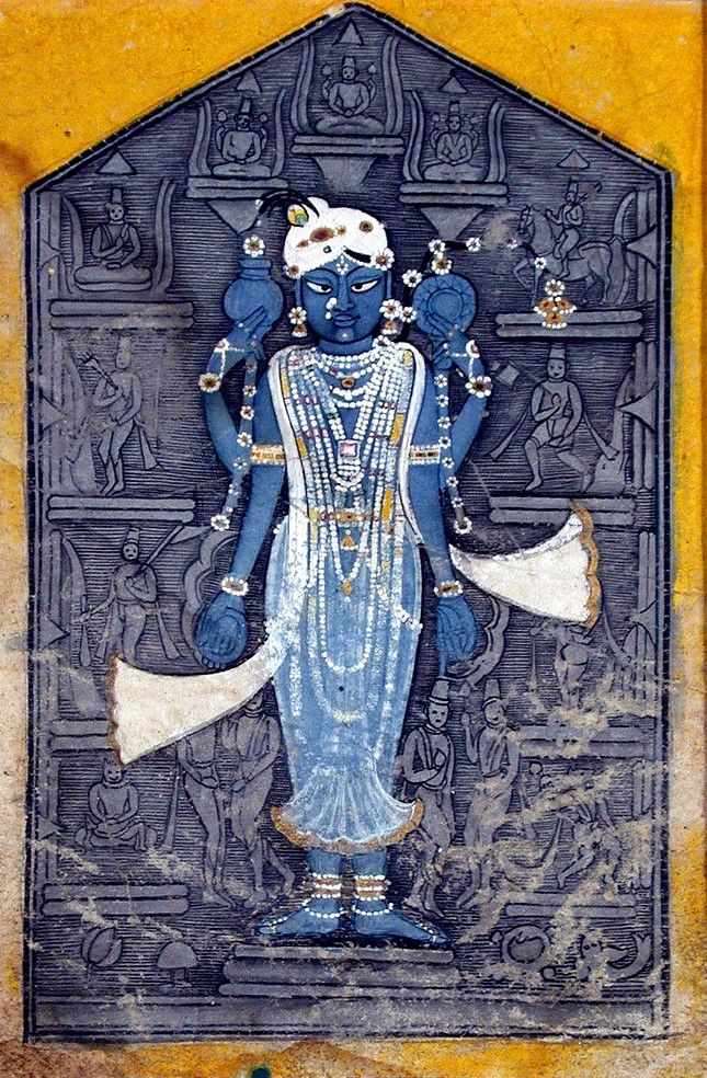 An image of Vishnu surrounded by bas-reliefs of his avatars. ca. 1780. State-Province: Rajasthan Court: Kishangarh. School: Rajasthani. Edwin Binney 3rd Collection, SDMA