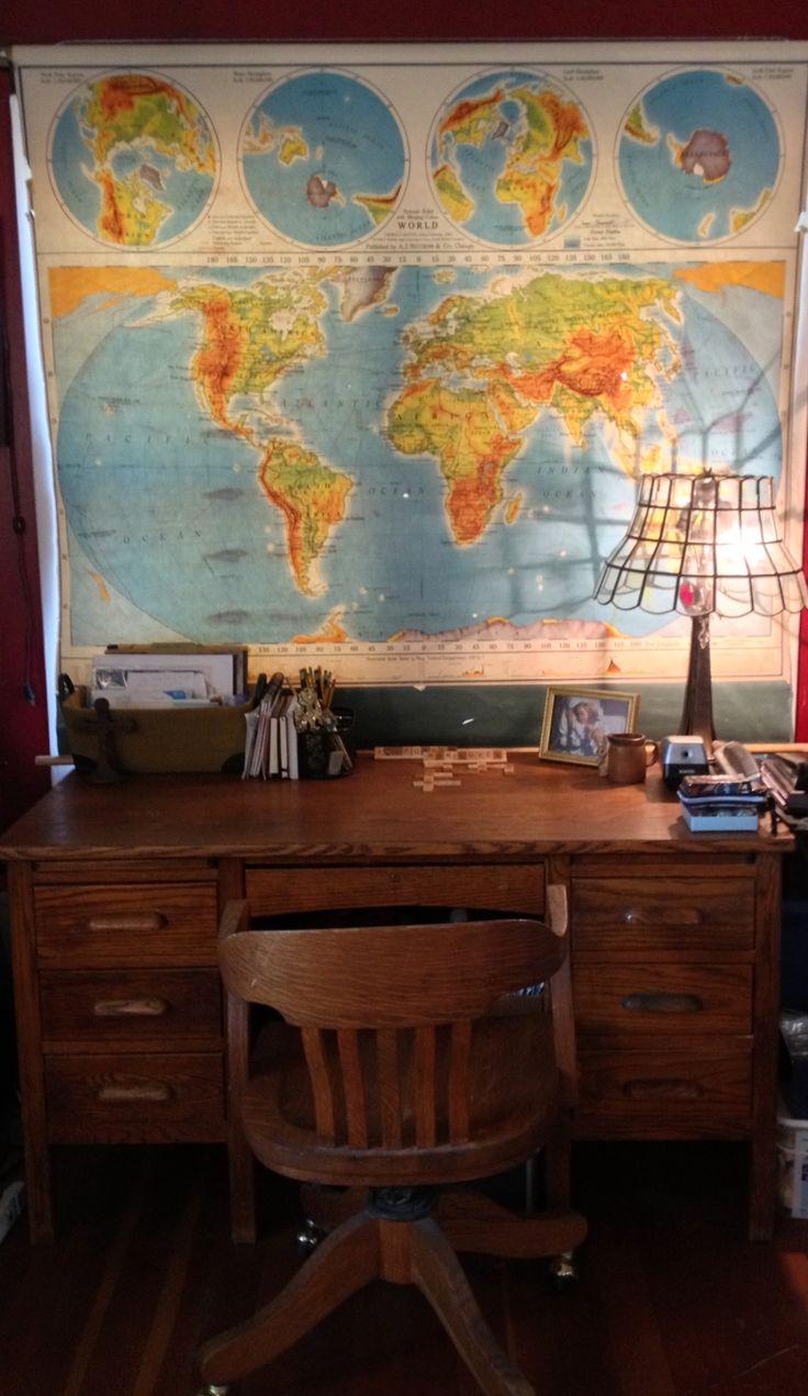 Vintage School Room Map Turned Curtain in My Home-School Room