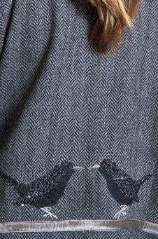 bird detail on coat, tm collection