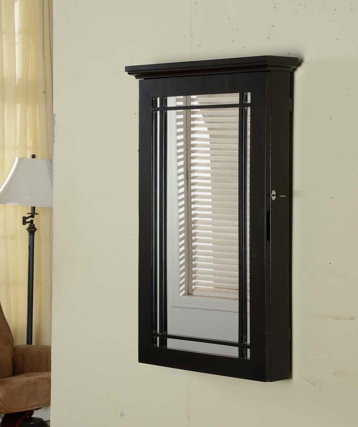Black Mirrored Armoire With Front Design