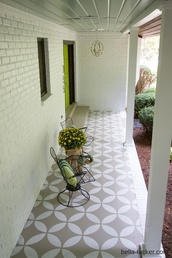 Hometalk | Stenciled and Painted Front Porch Makeover