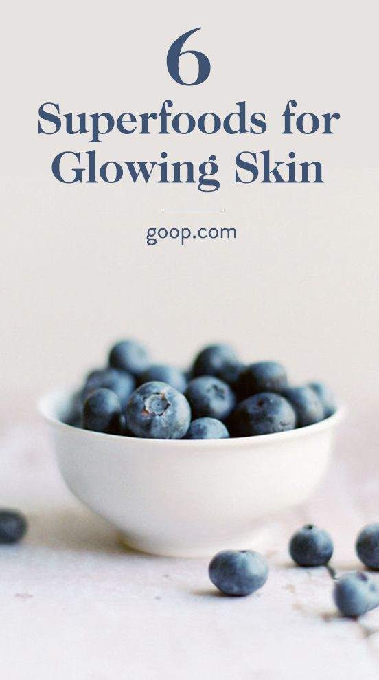 A list of superfoods and accompanying recipes for glowing, healthy skin.