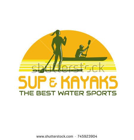 Retro style illustration of person on stand up paddle or sup as well as paddling on kayak canoe set inside half circle with words SUP and Kayak Water Sports on isolated background.  #standuppaddle #kayak #retro #illustration
