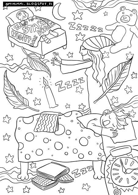 OPTIMIMMI   A free coloring page of the night and dreams / Ilmainen värityskuva yöstä ja unista