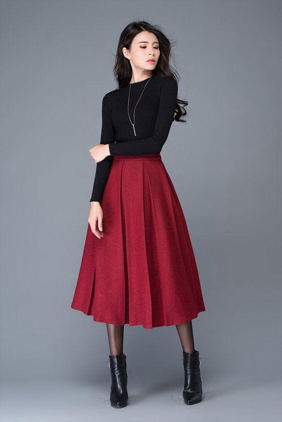 Wine red wool skirt/maxi skirt/winter women's skirt/ par YL1dress