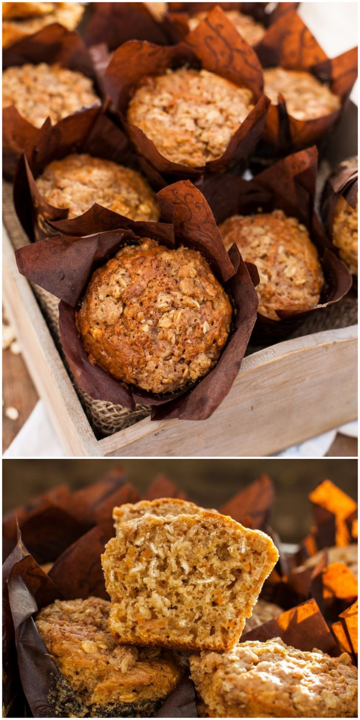 Healthy Oatmeal and Carrot Muffins. Shredded carrots and yogurt give these low fat muffins very moist, cake-like texture and they are good for you!