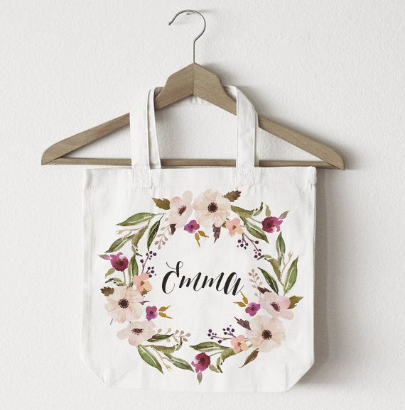 Personalized Tote Bag Floral Tote Bag White by WishfulPrinting