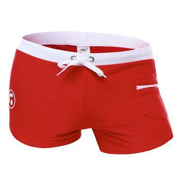 Sexy Beach Swimming Hot Spring Low Waist Zipper Pocket Boxers Trunks Beach Shorts for Men