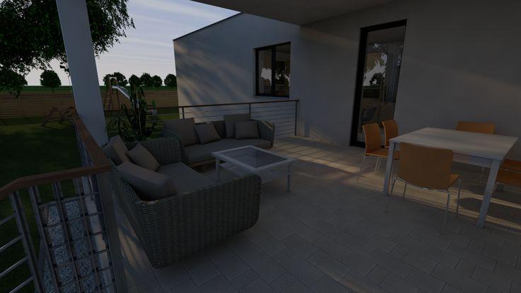 Modern, 5 szobás, 229 m2-es földszintes családi ház mintaterve, alaprajzzal Az északi, konyhából nyíló terasz délutáni napfényben. Az északra elhelyezett terasz a legjobban használható a nyári időszakban. Ide mindig kellemes kiülni a hűvösbe. A teraszra nem csak a konyhából, hanem a garázsból is ki lehet jönni.