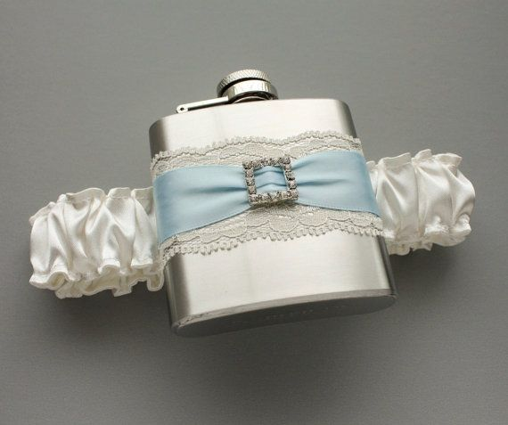 Ivory & Pale Blue FLASK GARTER   Something Blue by MoonshineBelle, $39.00