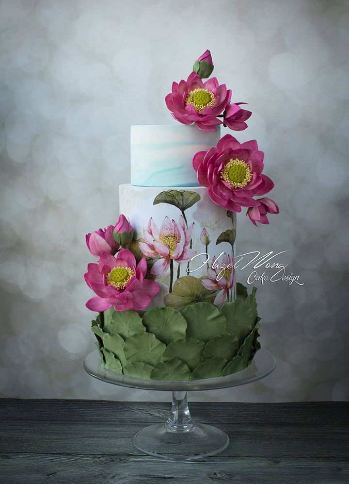 Hand painted wedding cake with pink flowers and lily pads ~ we ❤️ this! moncheribridals.com