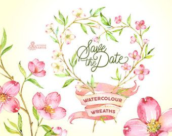 Save The Date 5 Couronnes De L Aquarelle Des Cliparts Fleurs