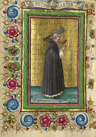 Gualenghi-d'Este Hours  Saint Peter Martyr        Taddeo Crivelli  Italian, Ferrara, about 1469  Tempera colors, gold leaf, silver leaf, and ink on parchment    4 1/4 x 3 1/8 in.  MS. LUDWIG IX 13, FOL. 192V (Getty)