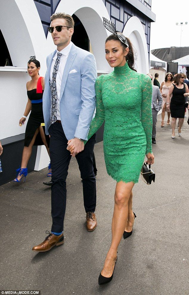 Megan Gale flaunts dons green lace mini-dressat Melbourne Cup 2015 #dailymail