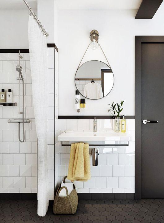 Black And White Bathroom Tile/black Corner Rail/square Tile/floating Vanity  Sink/round Mirror/black Floor Tile/black Door