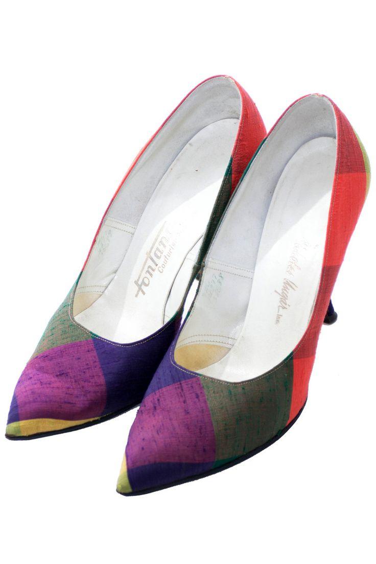 Fontana Rome raw silk madras plaid mid century shoes 7N