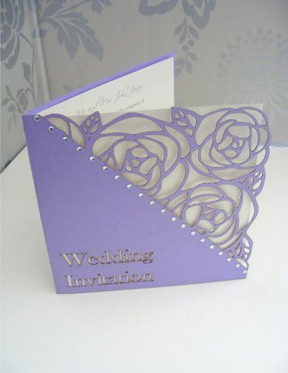 Tulip Laser Cut Single Fold Wedding Invitation - Lilac