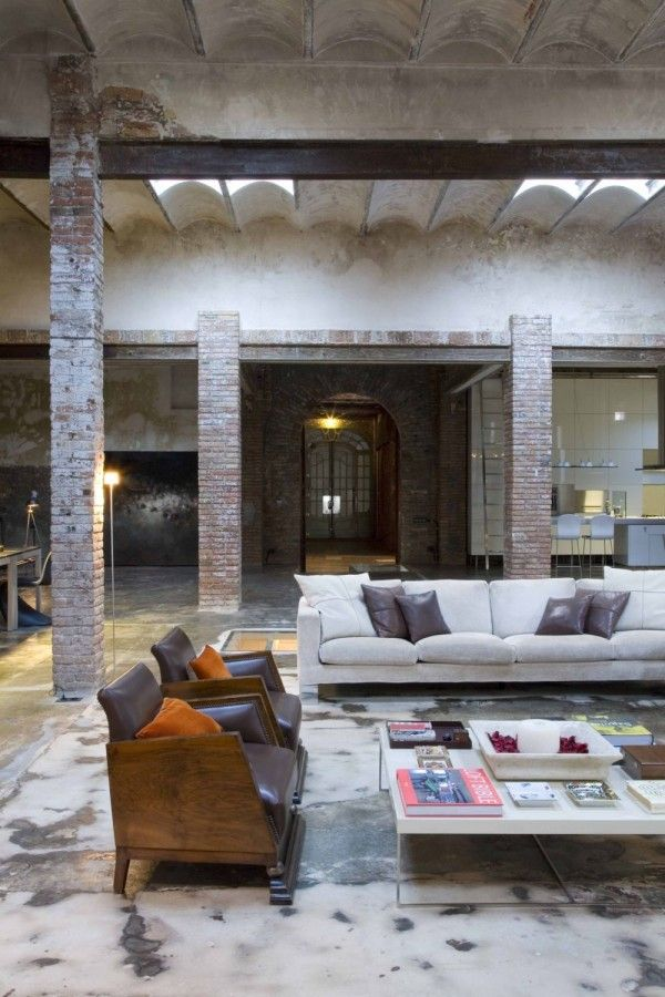 yes,I'll move right in,please~Open Spaces, Interiors Design, Living Room, Modern Industrial, Loft Spaces, Exposed Brick, Industrial Design, Expo Bricks, Industrial Loft