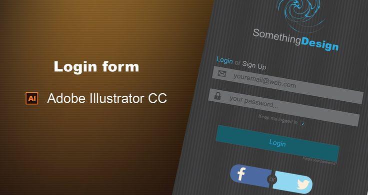 Web Design Login Form Gray And Blue | Adobe Illustrator