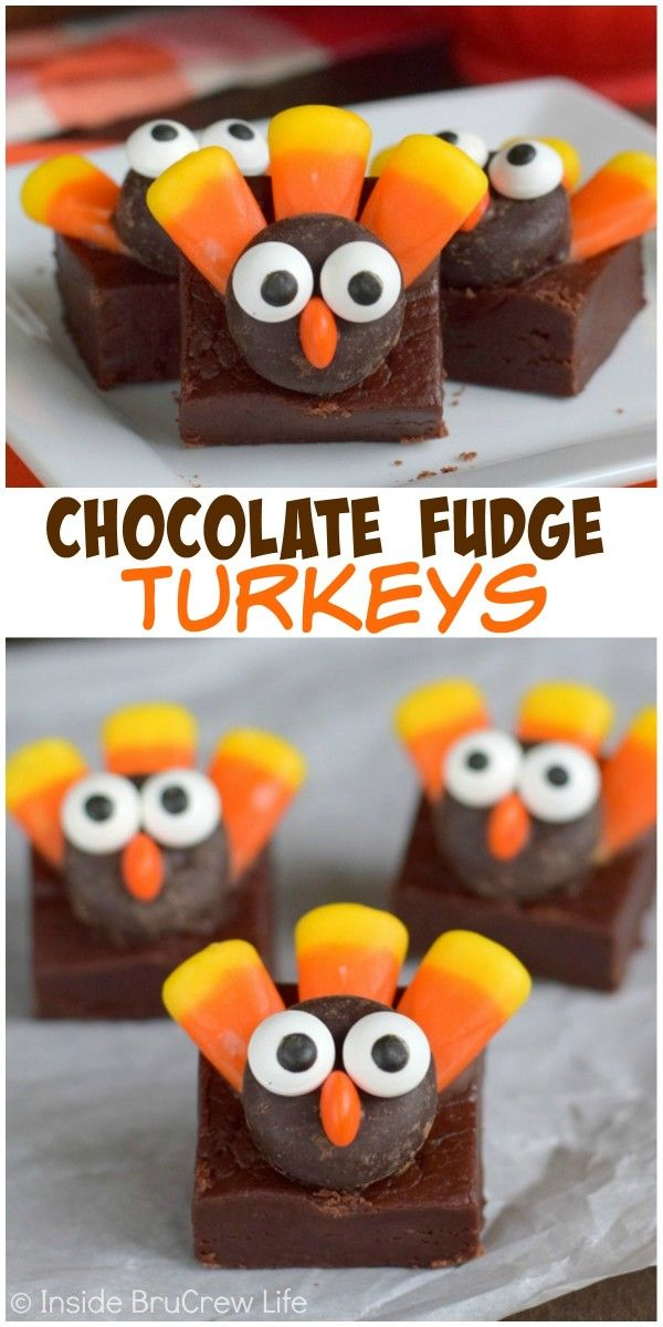 Fudge squares with a cute little turkey face make a perfect Thanksgiving dessert!