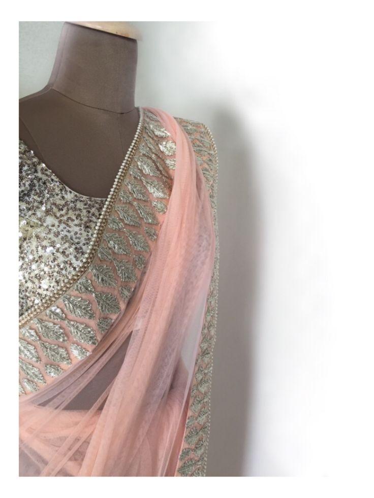 The peach Adah Sari! It's so elegant you may be mistaken for a Maharani!   #trousseau #royal #elegant #sari #saree #daywedding #summerwedding #bridesmaiddresses #desibridesmaids #desiwedding #peach #silver