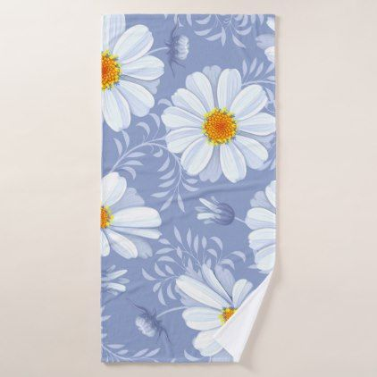 Spring Summer White Flower Blue Pattern Bath Towel - floral style flower flowers stylish diy personalize