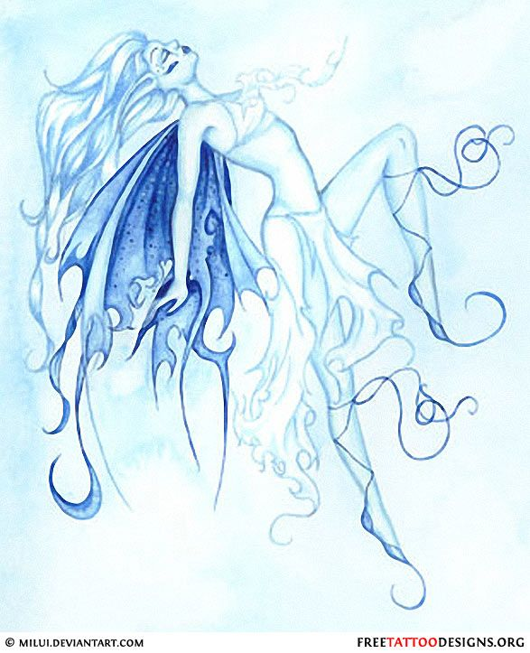 Blue fairy tattoo design
