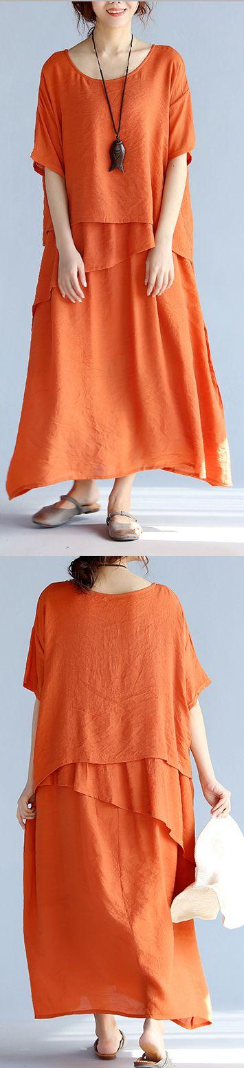 New orange long linen dresses  New short sleeve linen cotton dress