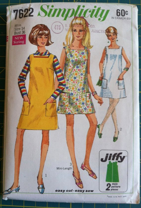 Vintage 1960s Sewing Pattern Simplicity 7622 Womens Jumper Dress. Size 14. Bust 36. Retro Sewing Patterns Mad Men.