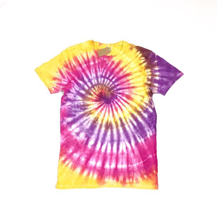 Spiral tie dye tshirt | Spiral, tie dye, tie dyed, sunset, colourful, custom tie dye, dyed, pink, yellow, purple