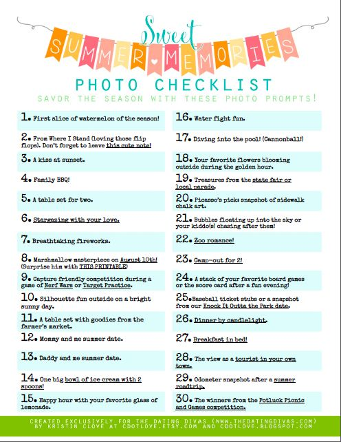 Summer Memories Photography Bucket List - Giving this to my tween to tackle