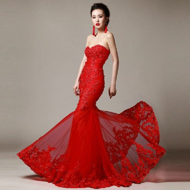 Wedding Dresses Red Lace : Wedding dress red sexy fancy dresses