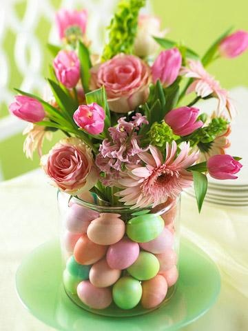 Easter Centerpiece Idea ~ Start with a large-mouth cookie jar or canister, a clear drinking glass that fits inside the jar, dyed hard-cooked eggs and flowers. Center the drinking glass inside the jar and carefully stack the eggs between the glass and jar