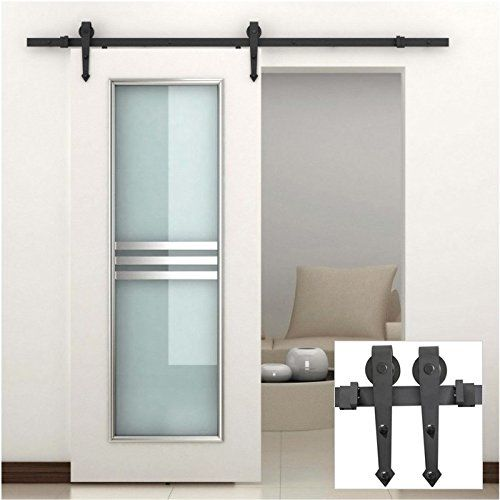 yaheetech modern interior sliding barn wood door hardware track set