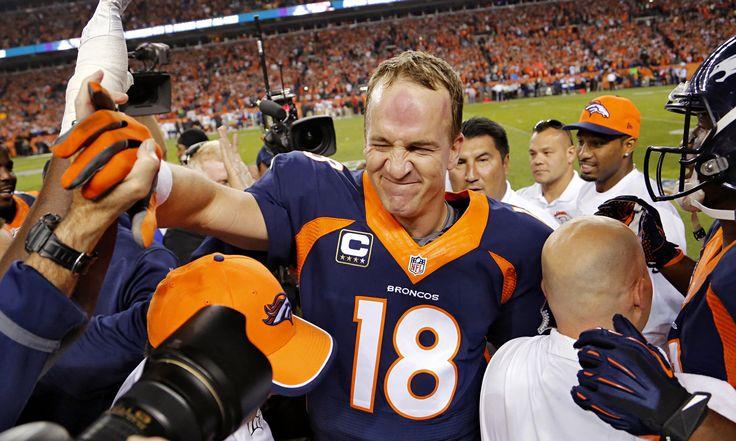 The Denver quarterback Peyton Manning broke Brett Favre's NFL record for career touchdown passes against the San Francisco 49ers on Sunday