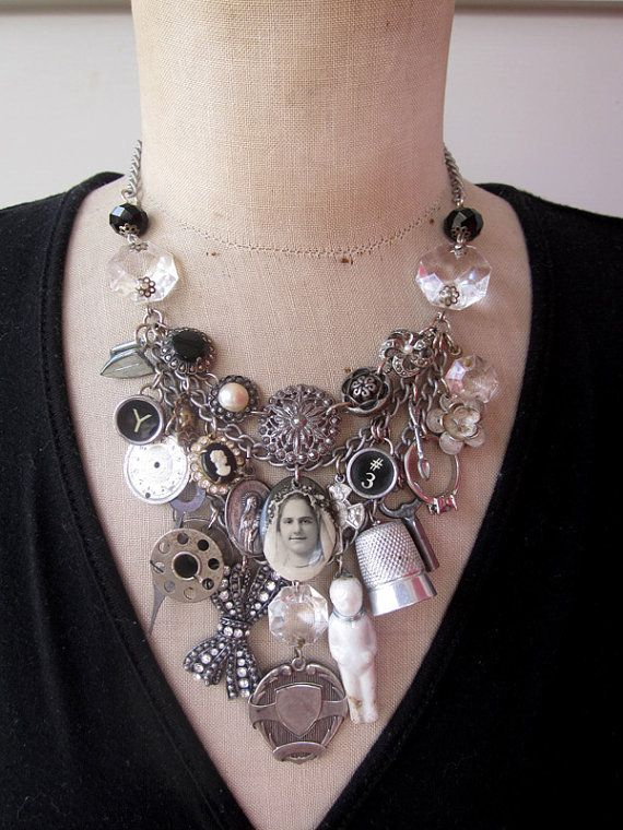 Vintage Charm Necklace by Rebecca3030 at Etsy.