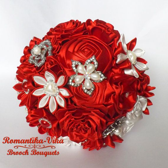 Brooch Bouquet. Red and Ivory wedding bouquet