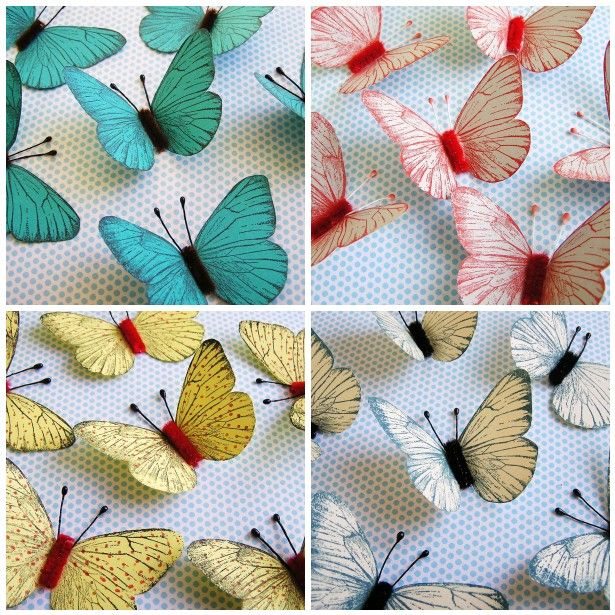 pretty butterflies - make with stamps/dies/punch - use chenille stick as body and flower stamens as feelers - bjl