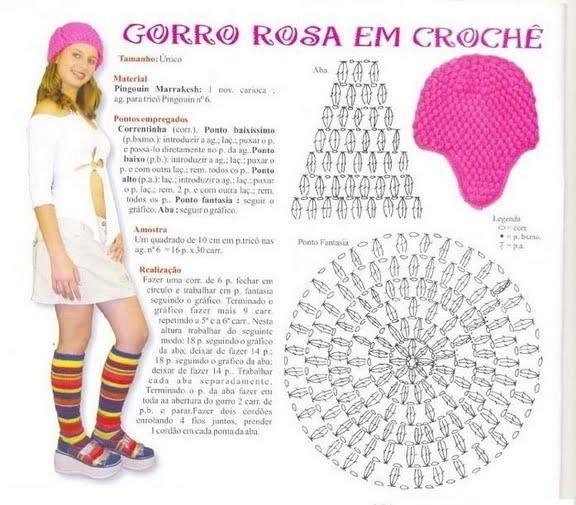 """""""CROCHET MOSSITA BELLA PATRONES Y GRBFICOS"""": GORRO"""