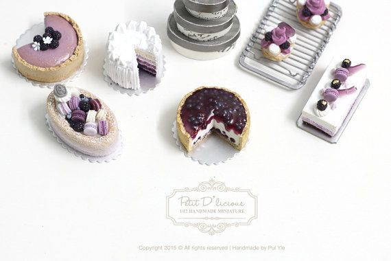 Blueberry Lemon Cheesecake in Dollhouse Miniature by PetitDlicious