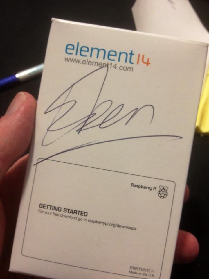 A Raspberry Pi, signed by inventor Dr Eben Upton.