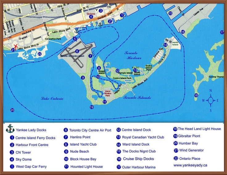 Map of the Toronto Harbour showing a typical cruise route and many of the points of interest.