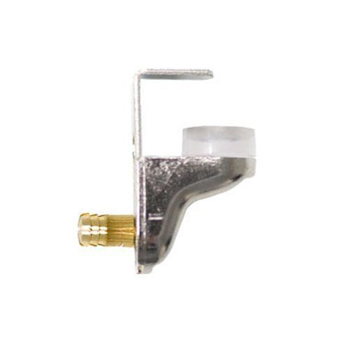 Locking Glass Shelf Support (4 Pk) by Signature Components. $7.12. Nickel-plated steel shelf support locks glass in place with a suction cup and fastening clip. Brass expansion bushing is inserted into holes in the sidewall and insertion of the screw opens busing to lock into hole.