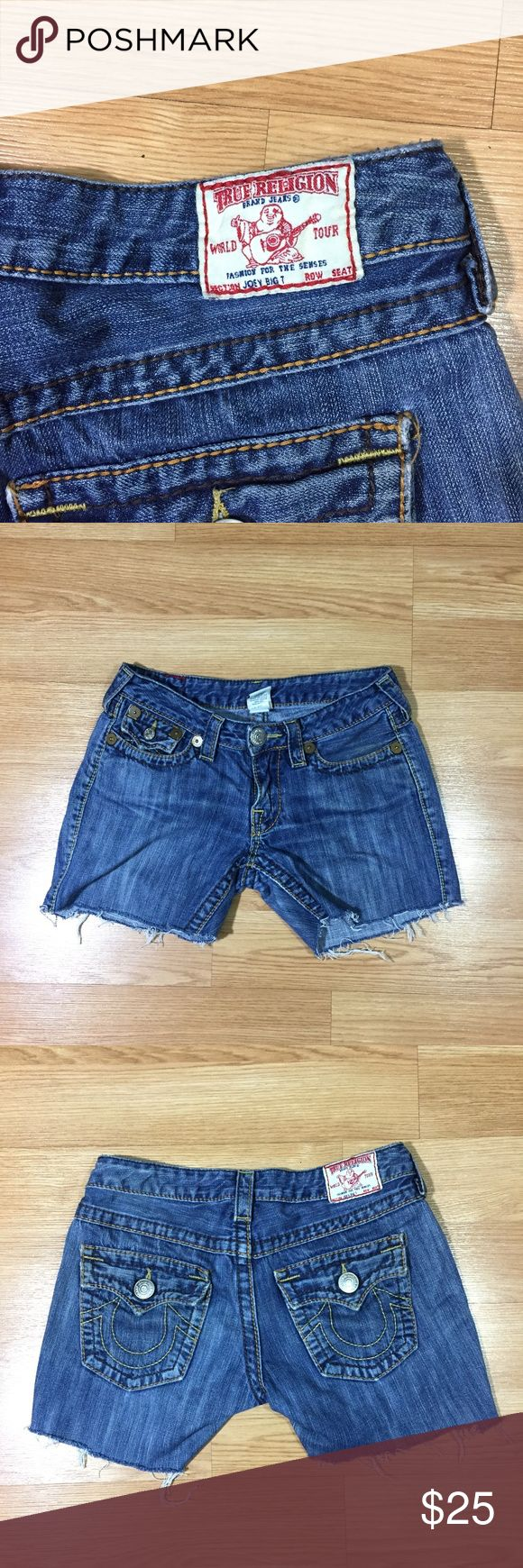 "True Religion Cutoff Jean Shorts Size 28 True Religion Joey Big 7  In good condition. Washed and ready to go.   Tagged size: 28 Actual waist: 30"" Length: 12"" Inseam: 5"" True Religion Shorts Jean Shorts"