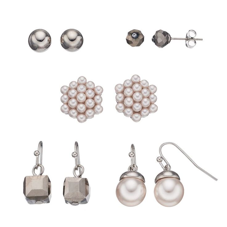 Simulated Pearl & Faceted Bead Nickel Free Earring Set, Women's, Silver