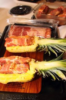 For the Love of Food: Bacon Wrapped Pineapple Stuffed with Sweet Heat Ribs