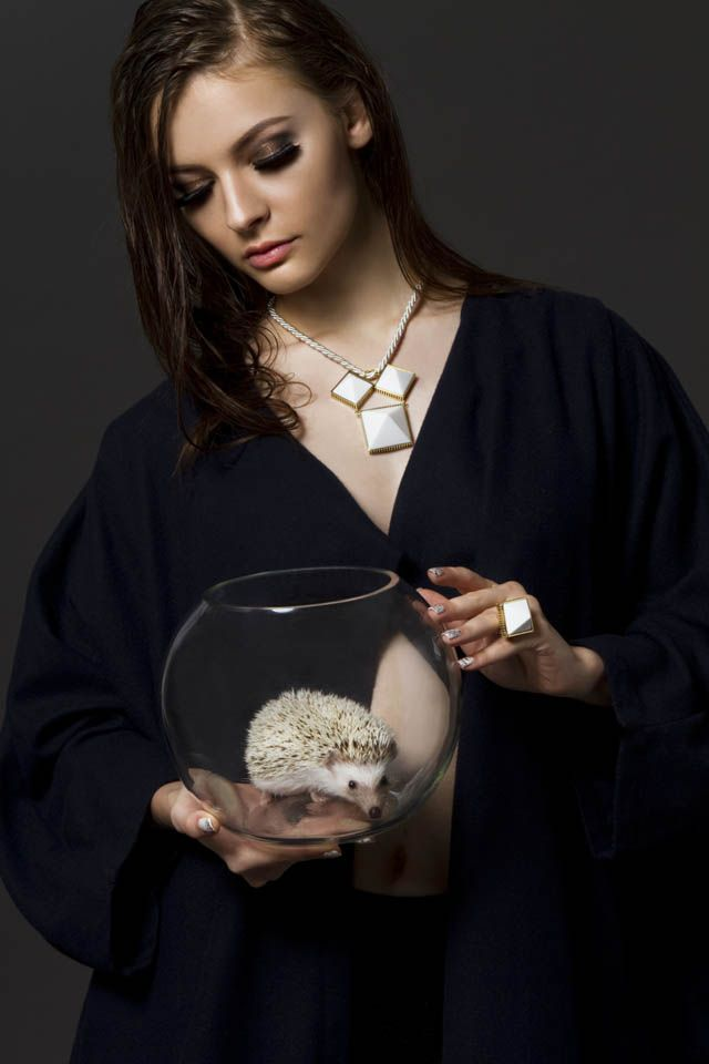statement jewellery. END OF THE POINT NECKLACE in SNOW & END OF THE POINT RING in SNOW.   www.watpthelabel.com
